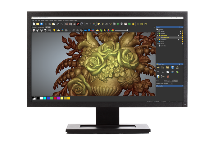 Carveco interface for 3d relief modelling