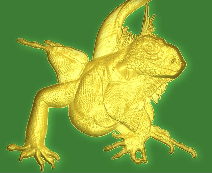 Lizard relief, designed in Carveco