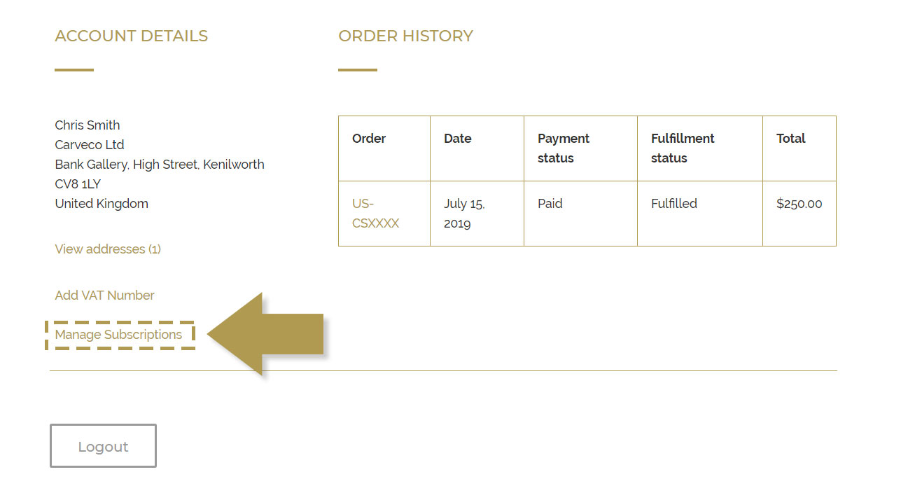 Customer subscription portal on the Carveco store