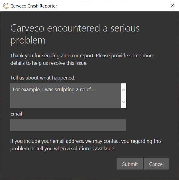 Crash Error Dialog 2