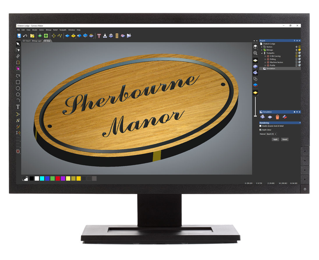 Monitor with Carveco Maker wookworking software