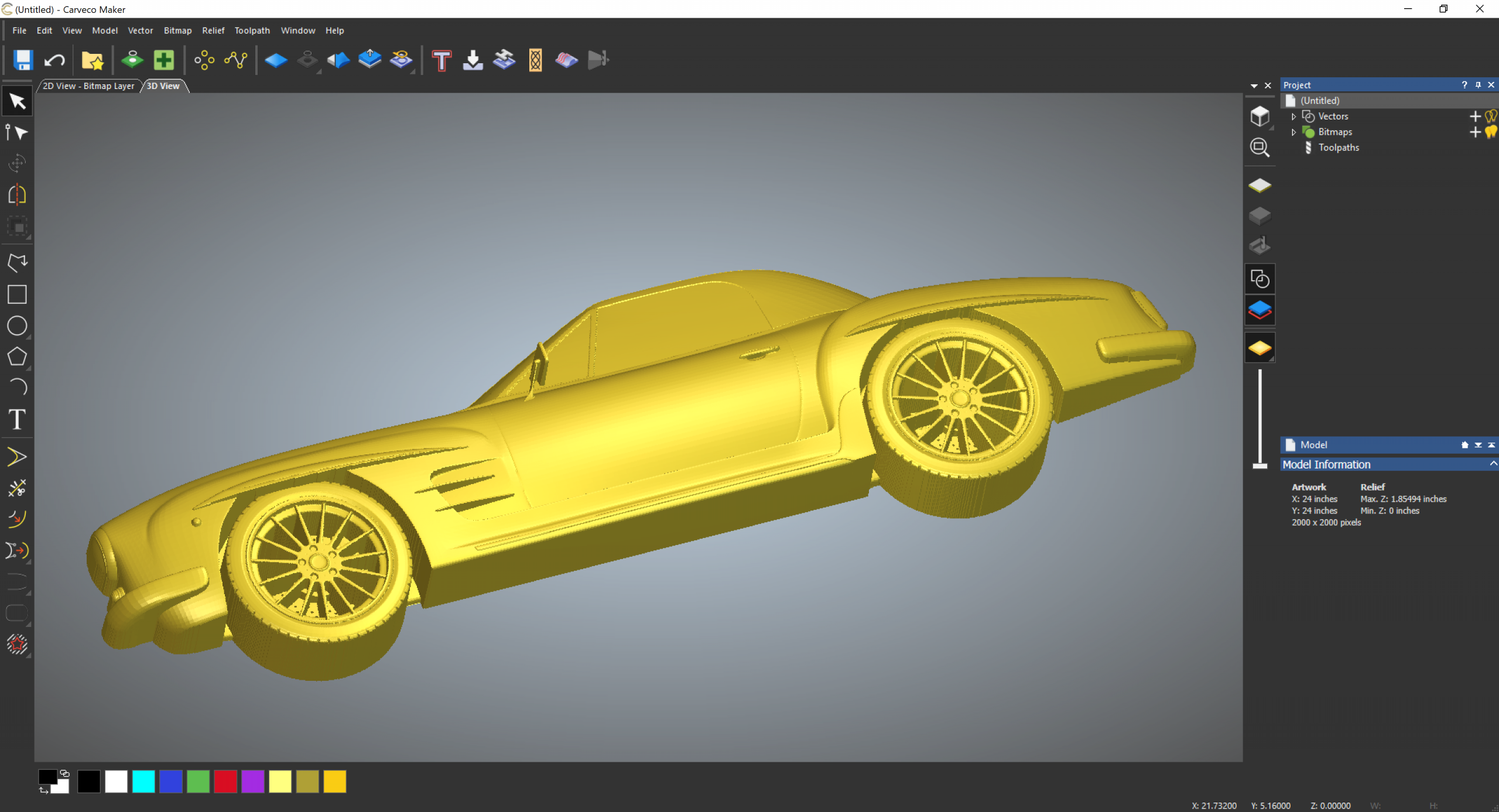 Flatten 3D models with the embossing tool
