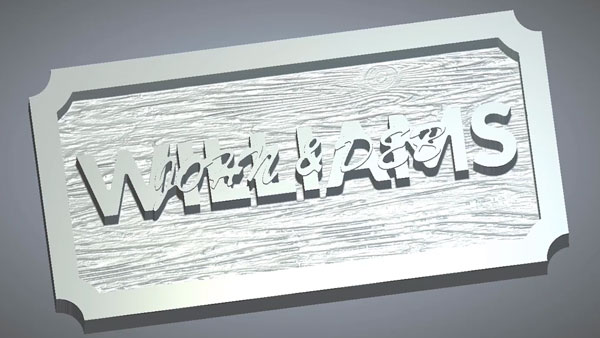 Simulation of texture machining on a sign