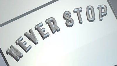 Bevel carving the words never stop simulation