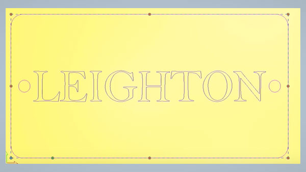 Carveco plaque with the name Leighton