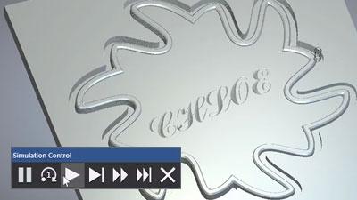 Simulation control bar and simulated toolpath cuts
