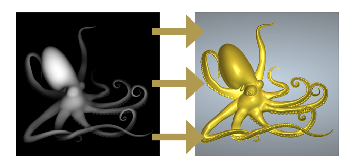 3D octopud relief model from a grayscale image