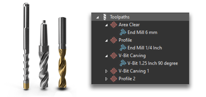 CNC router bits and multiple toolpaths